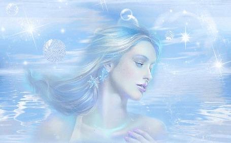 Анимация Девушка плывет по волнам на фоне футуристического неба