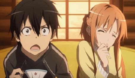 Анимация Кадзуто Киригая / Kazuto Kirigaya и Асуна Юки / Asuna Yuuki из аниме Мастера Меча Онлайн / Sword Art Online