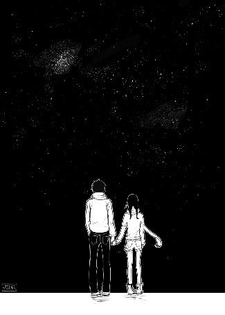 Анимация Сацуки Шишио / Satsuki Shishio и Сузумэ Йосано / Suzume Yosano из манги Дневной звездопад / Daytime Shooting Star / Hirunaka no Ryuusei держась за руки стоят на фоне ночного неба, глядя на падающую звезду