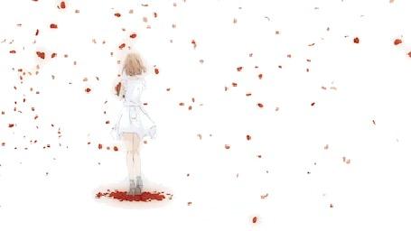 Анимация Девушка в белом платье с букетом роз