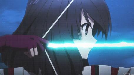 Анимация Нацумэ Цучимикадо / Natsume Tsuchimikado из аниме Токийские вороны / Tokyo Ravens выстреливает из лука, и стрела оставляет за собой магический след