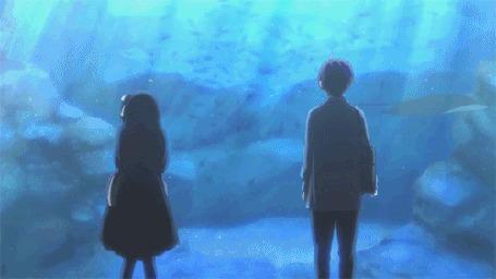 Анимация Парочка стоит у большого аквариума и смотрят на рыб из аниме Чудачества любви не помеха! / Chuunibyou demo Koi ga Shitai!
