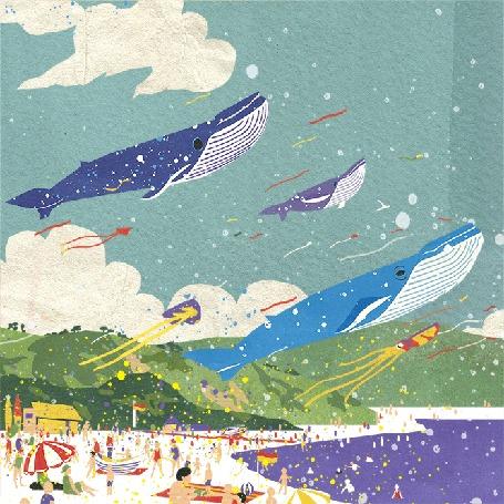 Анимация Парящие в небе киты и морские существа над пляжем