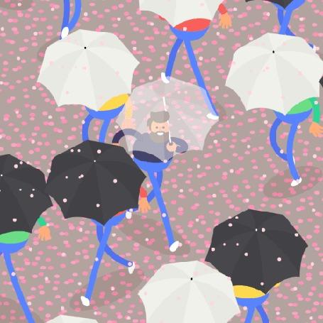 Анимация Мужчина с зонтом идет среди людей с зонтами