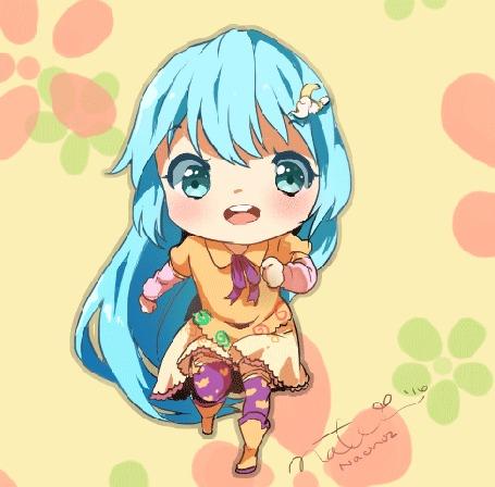 Анимация Бегущая девочка с голубыми волосами, by Nachooz