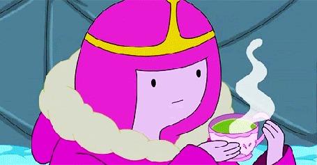 Анимация Принцесса Бубльгум пьет горячий чай из чашки, мультсериал Adventure Time / Время Приключений