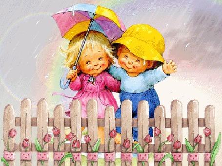 Анимация Девочка с мальчиком стоят за забором под дождем