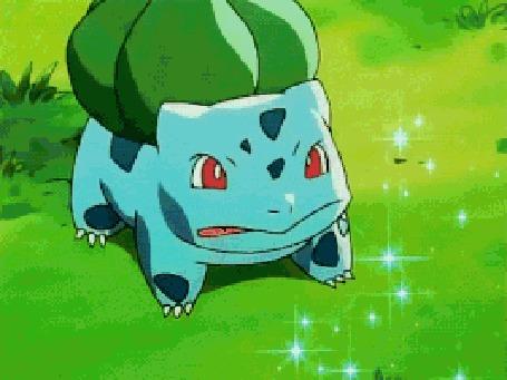 Анимация Bulbasaur / Бульбазавр из аниме Pokemon / Покемон раскуривает сигару