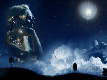 Анимация Девушка в сияющей гирлянде на фоне неба вспоминает о любви
