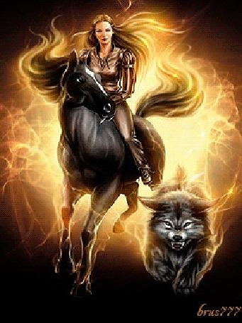 Анимация Девушка на коне, рядом с ней волк в огне, автор bruss777