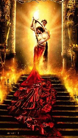 Анимация Парень обнимает девушку в струящейся одежде по ступеням стоящую на лестнице старинного дома в огне, автор archer III