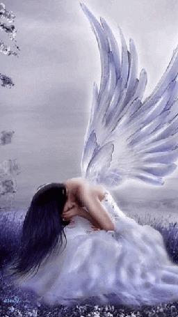 Анимация Девушка белокрылый ангел положив руки на лицо склонила голову к коленям