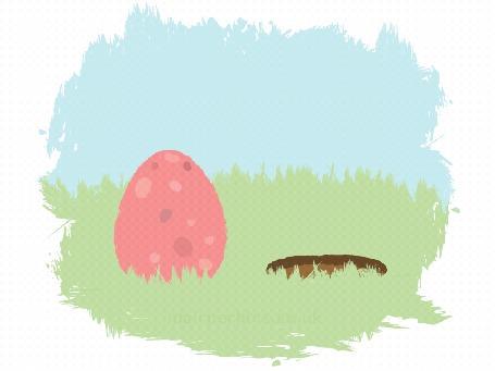 Анимация Белый кролик выглядывает из норки, а цыпленок из яйца