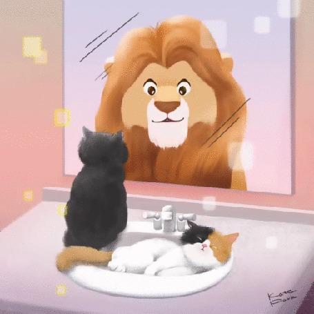Анимация Кошечка лежит в раковине, а котик сидит на краю раковины и смотрит в зеркало, в котором отражается лев, by Kate Park