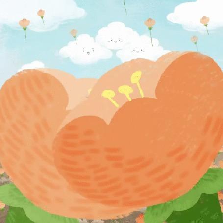 Анимация Кошечка похлопывает котика по плечу на поле тюльпанов, by Kate Park
