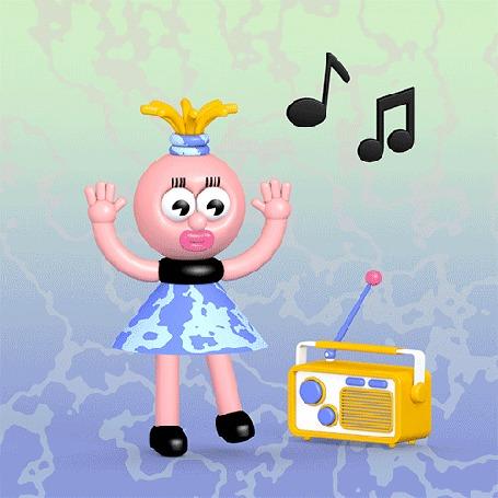 Анимация Девушка танцует под музыку, доносящуюся из радиоприемника, by Eemil Friman| / Ээмиль Фриман