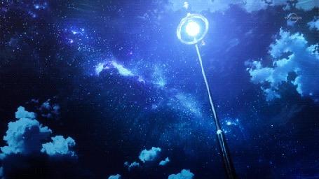 Анимация Бабочки подлетают к светящемуся фонарю