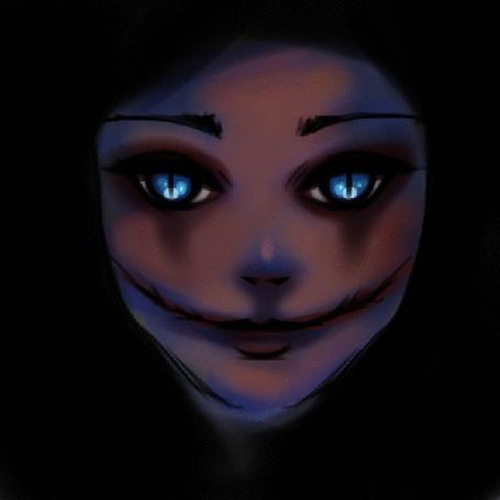 Анимация Девушка с разрезанным ртом, by ryky