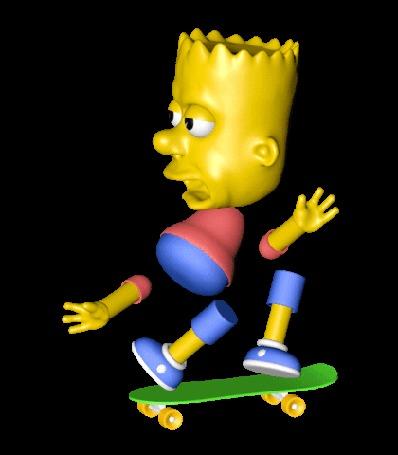 Анимация Bart Simpson / Барт Симпсон, сложенный из различных частей тела, на скейтборде, by Eemil Friman / Ээмиль Фриман