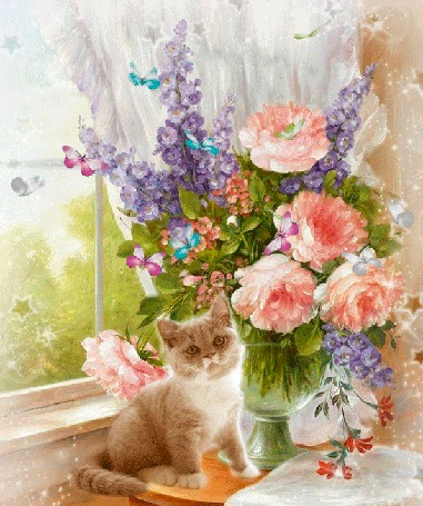 Анимация Котенок сидит у вазы с цветами, над которыми порхают бабочки