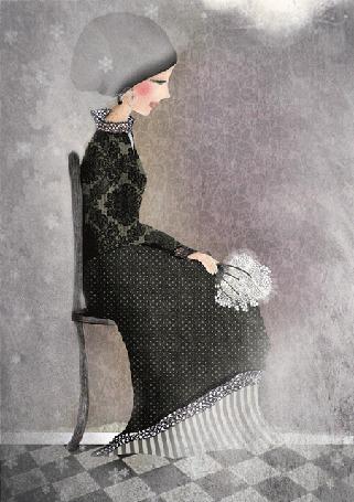 Анимация На девушку, которая сидит на стуле с букетом в руках, падают огромные пушистые снежинки, by Cathy Delanssay