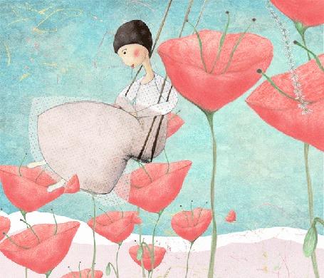 Анимация Девушка раскачивается на качелях, вокруг цветущие маки, by Cathy Delanssay
