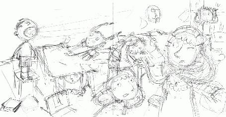 Анимация Черно - белый рисунок, как по волшебству, превращается в цветной, by Cathy Delanssay