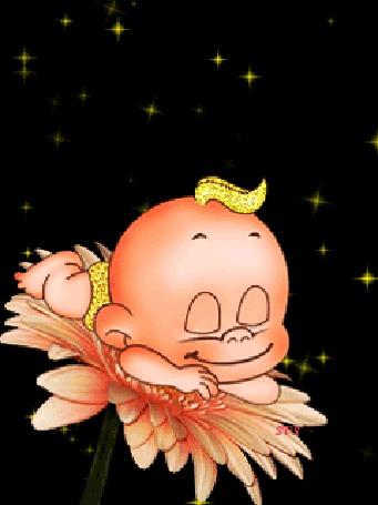 Анимация Улыбающийся малыш лежит на цветке (Sweet dreams / Сладкие мечты)