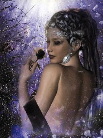 Анимация Девушка с розой в руке, с украшениями на голове, среди ночных мотыльков, (Нежных снов. )