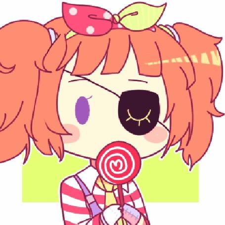 Анимация Рыжеволосая девушка с повязкой на глазу и конфетой у лица, by natto-ngooyen