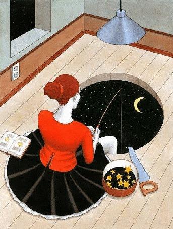 Анимация Девушка ловит удочкой звезды