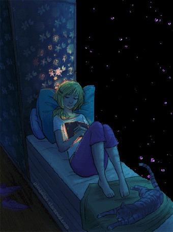 Анимация Девушка с книгой в руках и кошкой у ног лежит на фоне звездного ночного неба