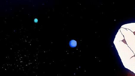 Анимация Мэдака Куроками / Medaka Kurokami из аниме Ящик предложений Мэдаки / Medaka Box тянется рукой к Земле в космосе