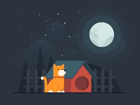 Анимация Собака сидит около своей конуры и наблюдает за падающими звездами