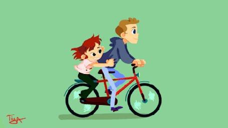 Анимация Парень с девушкой едут на велосипеде, by Tiya