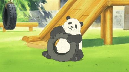 Анимация Панда играет с колесом