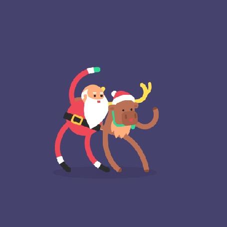 Анимация Санта - Клаус танцует с оленем