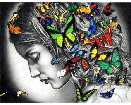 Анимация Девушка с бабочками на волосах