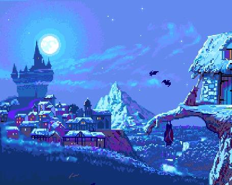 Анимация Пиксельный пейзаж в стиле ночи на Хэллоуин - полная луна, старинный замок и летучие мыши