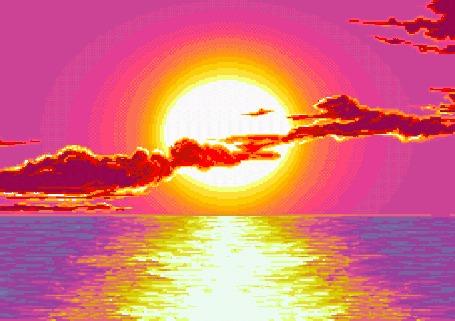 Анимация Красивый закат солнца над морем