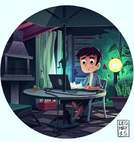 Анимация Парень сидит за ноутбуком (Leomаx15)