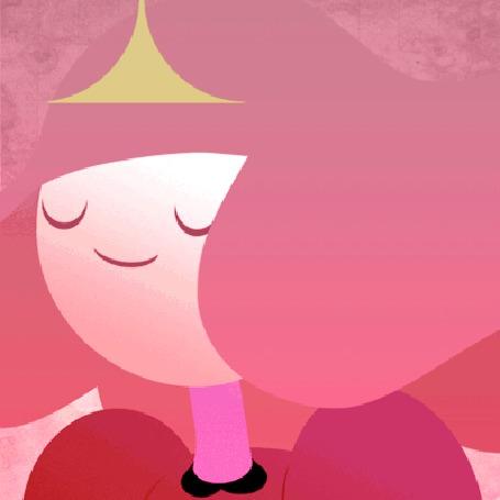 Анимация Princess Bubblegum / Бубльгум - принцесса конфетного королевства из мультсериала Время приключений / Adventure Time с развевающимися волосами