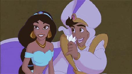 Анимация Аладдин дарит принцессе Жасмин цветок, мультфильм Aladdin / Алладин