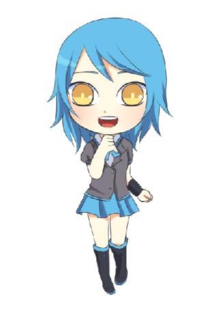 Анимация Девушка с синими волосами и янтарными глазами, by natto-ngooyen