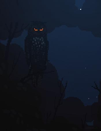 Анимация Сова сидит на дереве на фоне ночного небе