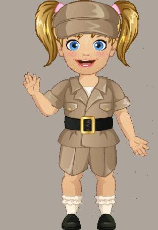Анимация Девочка машет приветственно рукой