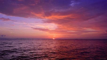 Анимация Море на закате солнца