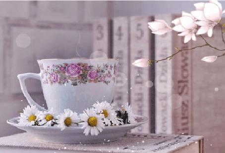 Анимация Чашка с ромашками на блюдце стоит на книге