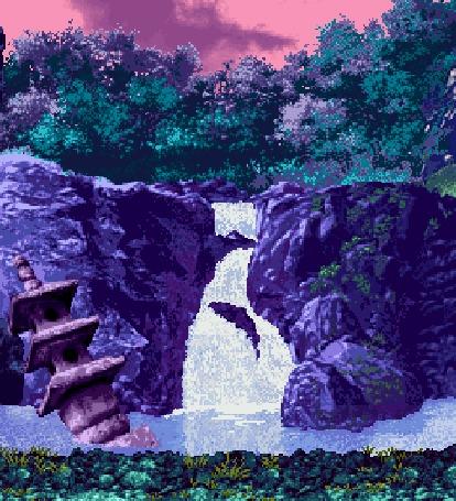 Анимация Водопад в лесу, из воды выпрыгивают рыбы