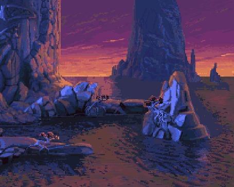 Анимация Рифы в океане, пейзаж игры The Dig